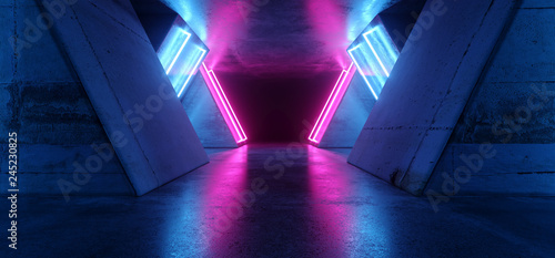 Photo  Futuristic Sci Fi Modern Realistic Neon Glowing Purple Pink Blue Led Laser Light