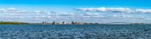 Panoramic View Of Coastal Areas In Punta Rassa Landscape  In Cape Coral - Fort Myers, Metropolitan Area, Lee County, Florida, United States. (census-designated Place)