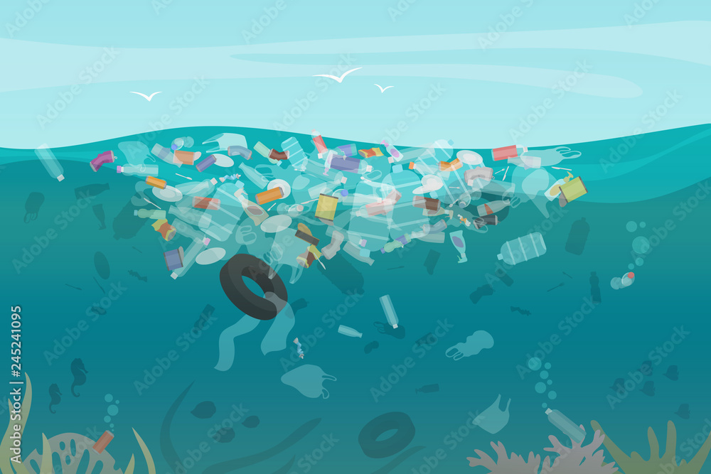 Fototapeta Plastic pollution trash underwater sea with different kinds of garbage - plastic bottles, bags, wastes floating in water. Sea ocean water pollution concept vector illustration.