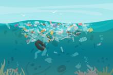 Plastic Pollution Trash Underw...
