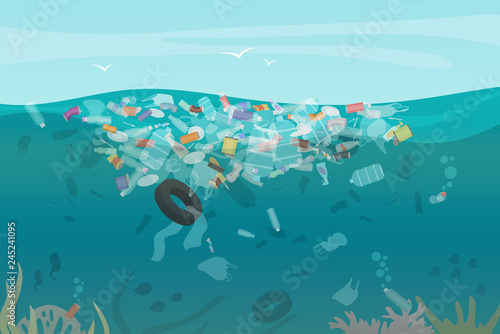 Fotografía  Plastic pollution trash underwater sea with different kinds of garbage - plastic bottles, bags, wastes floating in water
