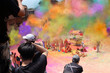 Leinwanddruck Bild Photographers taking pictures of people celebrating the Holi festival of colors in Nepal