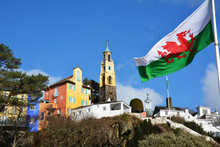 Portmeirion Village In North Wales With The Welsh Flag Flying