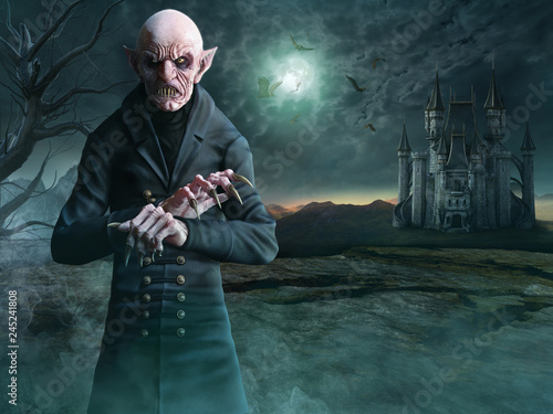 Photo Vampire scene 3D illustration
