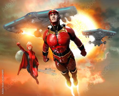 Fotomural  super heroes scene 3D illustration