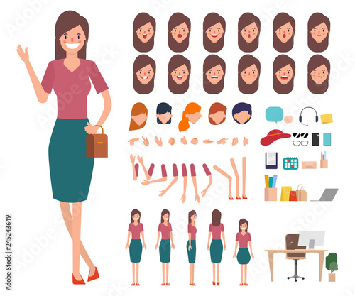 Valokuva  Young woman shopping character creation for animation