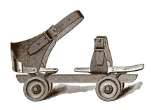 Antique Sidewalk Roller Skate After Engraving Or Etching From The 19th Century