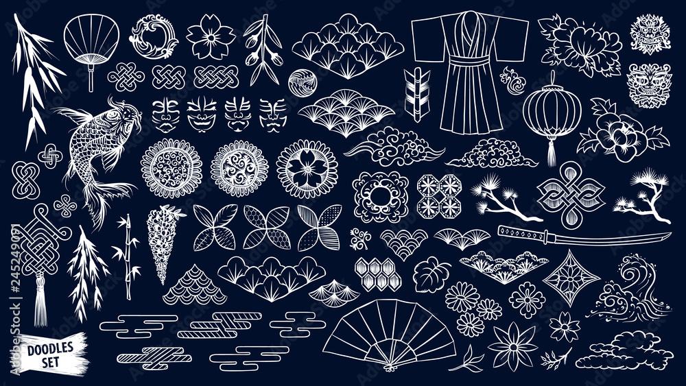 Kabuki. Japoński zestaw doodle. Elementy teatru Kabuki. Maska Kumadori. Kimono ornament. Pakiet symboli kultury azjatyckiej. Szkice Chinise. Kolekcja rysunków azjatyckich. Chiny. Japonia. Szkic wektor.