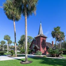 Exterior Of The Historic Faith Chapel On Jekyll Island, Georgia