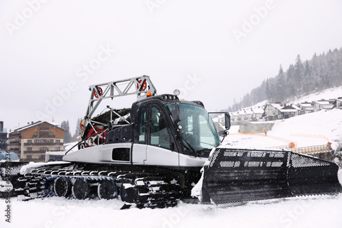 New modern snow plow at mountain resort