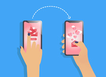 Vector Illustration In Line Flat Style And Blue, Pink, White Colors - Message, Love Concept, 14 February And Valentines Day With Two Phone In Hands. Vector Illustration. Blue Bacground.