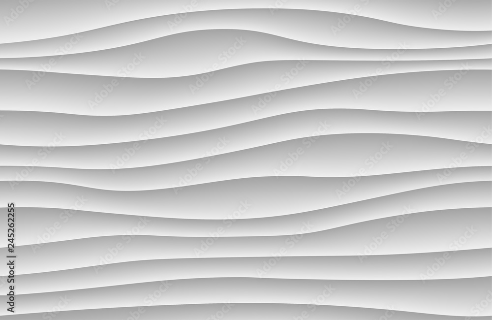 White abstract wave background. 3d waves pattern texture. Geometric black and white wallpaper. Curve wall decor pattern. Vector illustration.