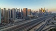 Dubai Marina skyscrapers aerial top view during all day from JLT in Dubai timelapse, UAE.