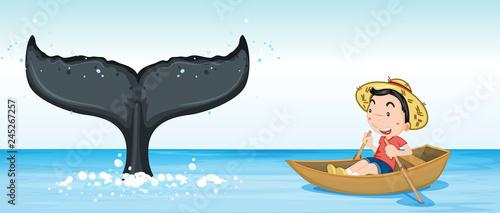 Staande foto Kids Humpback whale tail in ocean