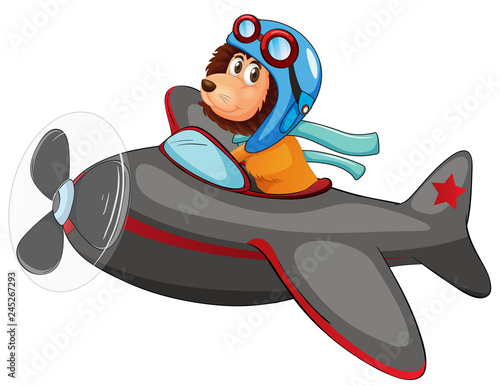 Staande foto Kids Lion riding vintage plane