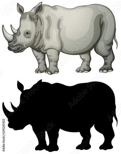 Staande foto Kids Set of rhinoceros character