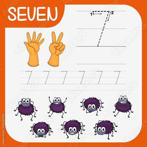 Staande foto Kids Math writing practise number seven