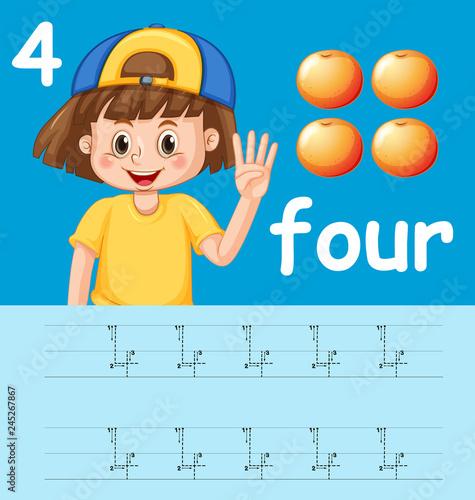 Staande foto Kids How to write number four worksheet