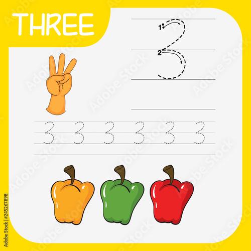Staande foto Kids How to write number three worksheet