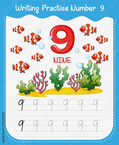 Staande foto Kids How to write number nine worksheet
