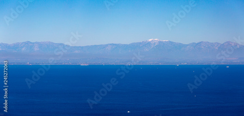 Long Beach and Mount Baldy as seen from Catalina Island. Canvas Print