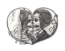 Art Couple Wedding Skull Tatto...