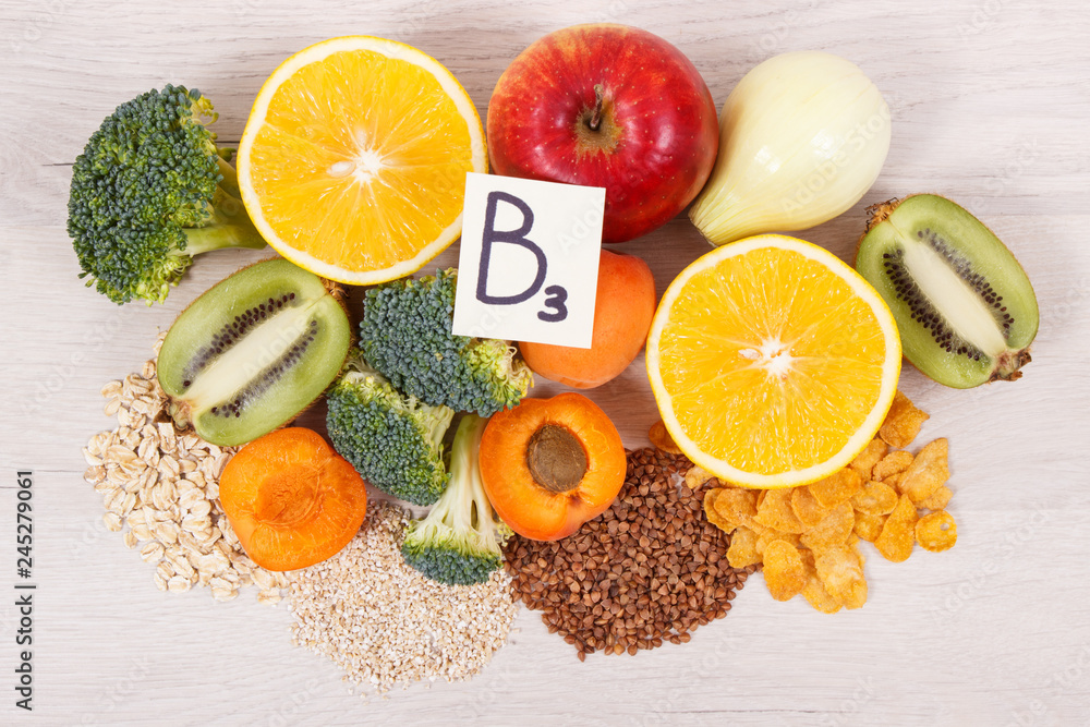 Fototapeta Ingredients and products containing vitamin B3 and other natural minerals, healthy nutrition concept
