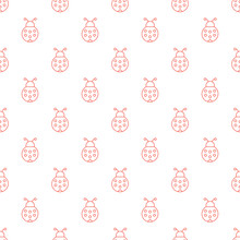 Vector Seamless Pattern With Ladybugs. Red Outline Ladybugs Seamless Pattern.