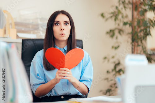 Office Woman Receiving Valentine Card from Secret Admirer Canvas Print