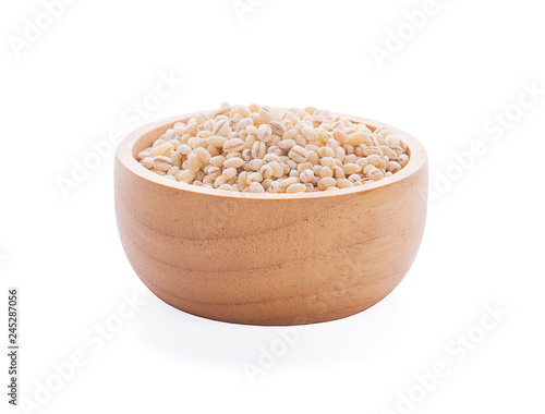 Fotografie, Obraz  Job's tears or Coix lacryma-jobi in a wooden bowl isolated on white background