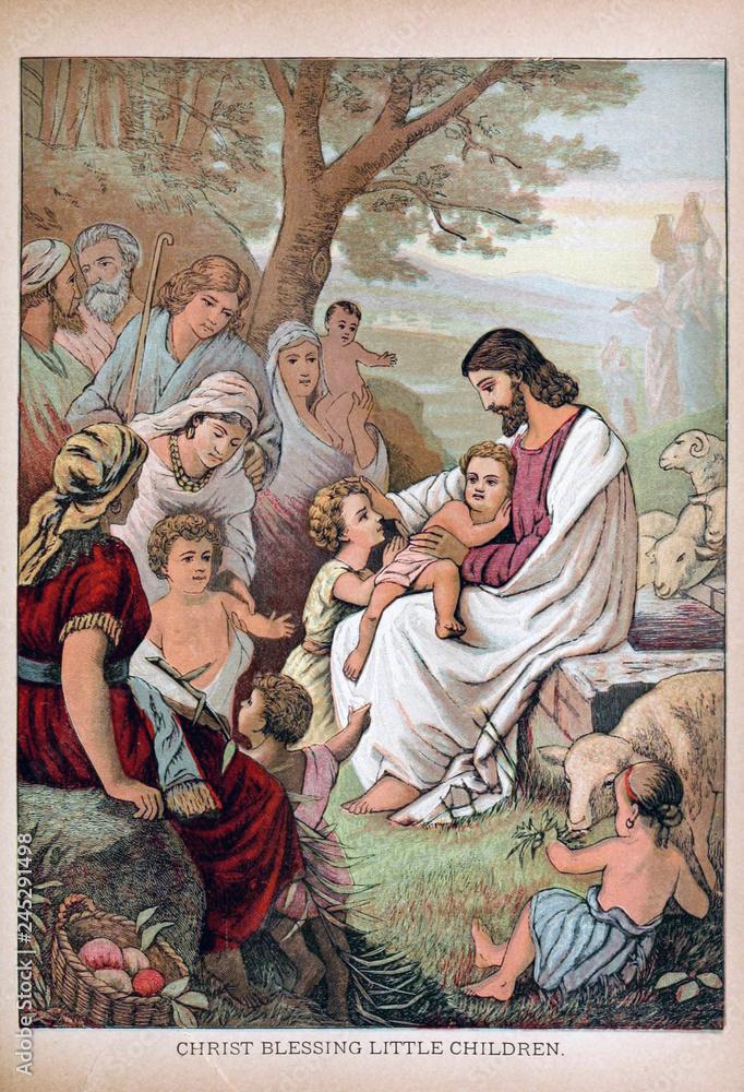Fotografie, Obraz Jesus blesses little children.