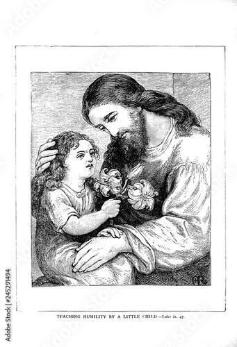 Fototapeta Jesus blesses little children.