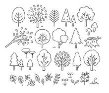 木や葉手描きペン画