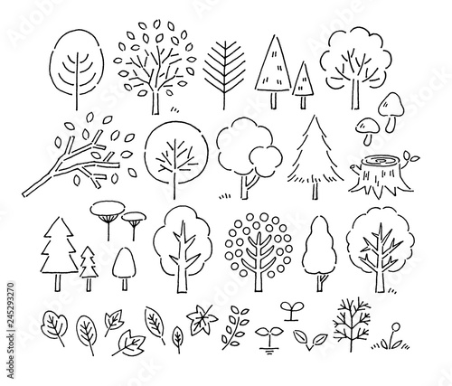 Pinturas sobre lienzo  木や葉手描きペン画