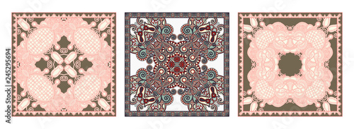 Fotografie, Obraz  set of traditional kalamkari ornamental floral paisley design