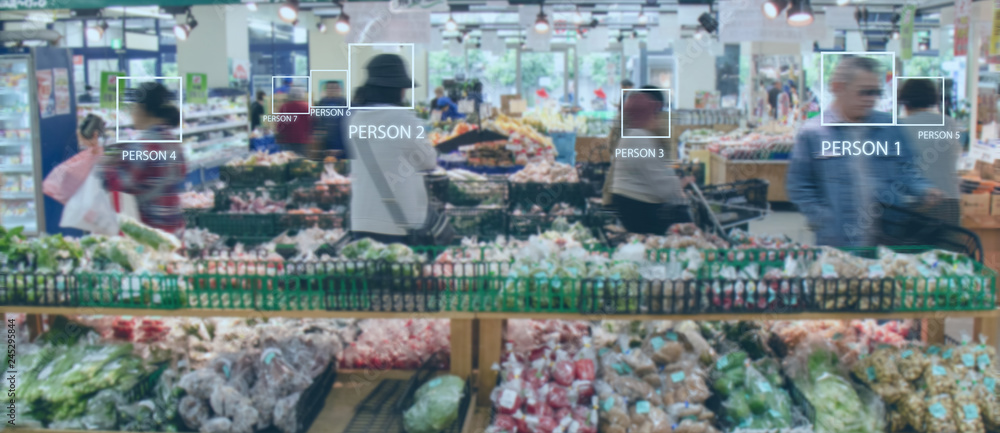 Fototapeta iot smart retail use computer vision, sensor fusion and deep learning concept, automatically detects when products are taken from or returned to the shelves and keeps track of them in a virtual cart.