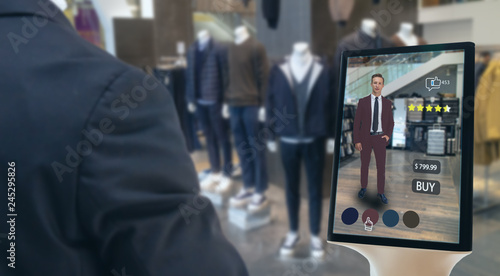 Fotografía  iot smart retail futuristic technology concept, happy man try to use smart displ