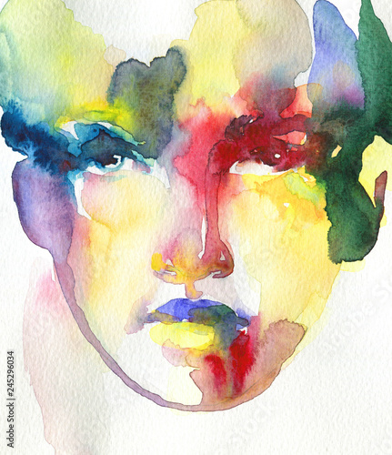 Staande foto Aquarel Gezicht abstract face. watercolor painting