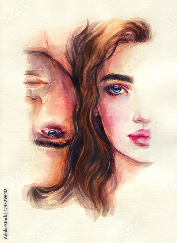 Poster Aquarel Gezicht man and woman. fashion illustration. watercolor painting