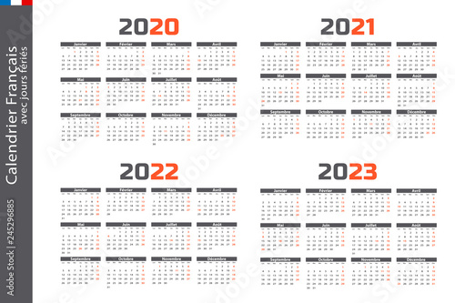 Calendrier 2020, 2021, 2022, 2023   Buy this stock vector and