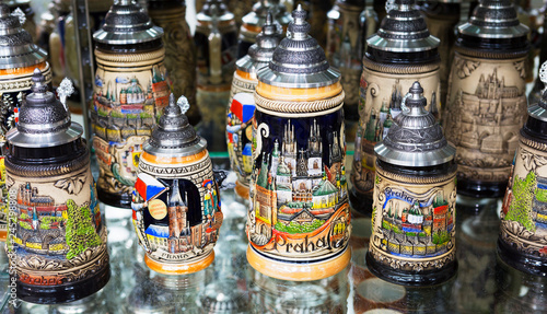 Prague, Czech Republic, Souvenir Czech beer mug. Beer mugs depicting the architecture of Prague will decorate the collection of any connoisseur of beer. Storefront Souvenirs of Prague.