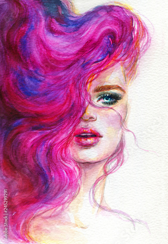 beautiful woman with pink hair. watercolor illustration