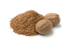 Heap Of Ground Nutmeg And Whol...