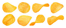 Potato Ridged Chips Isolated On White Background