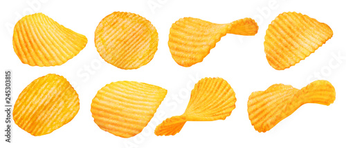Fotografía  Potato ridged chips isolated on white background