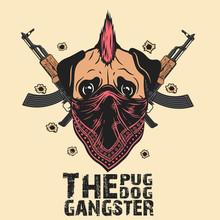 Gangster Pug Dog Print On T-sh...