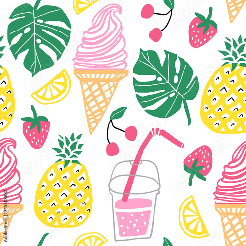 Summer vector seamless pattern. Line cute doodle Wallpaper Mural
