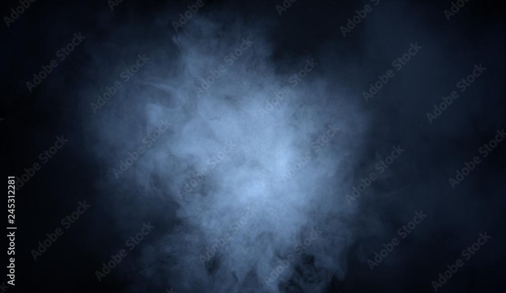 Fototapety, obrazy: Blue fog and misty effect on black background. Smoke texture overlays