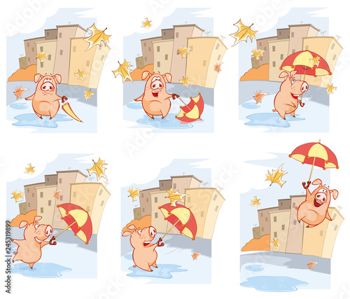 The History of Comics. A cute Pig and Windy Autumn Day. Cartoon Vector