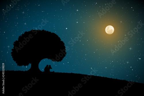 Valokuvatapetti Lovers under tree on moonlit night